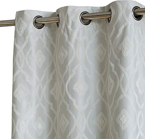 HLC.ME Trellis Decorative Fashion Winter Thermal Insulated 100% Blackout Energy Efficient Room Darkening Window Curtain Drapery Grommet Panels for Dining Room, Set of 2 (37 x 96 inches Long, Ivory)