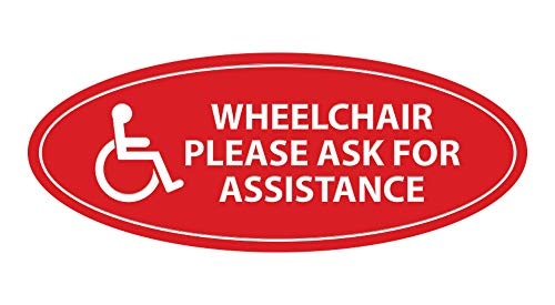 Signs ByLITA Oval Wheelchair Please Ask for Assistance Sign (Red) - Large