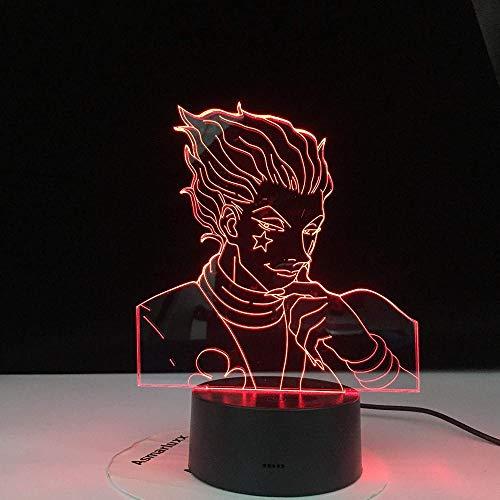 WENJZJ 3D Lamp Anime Hunter X Decor Hisoka Led Night Light Gadgets Light Kids Night Light Gift Colorful Bedroom Nightlight 16 color