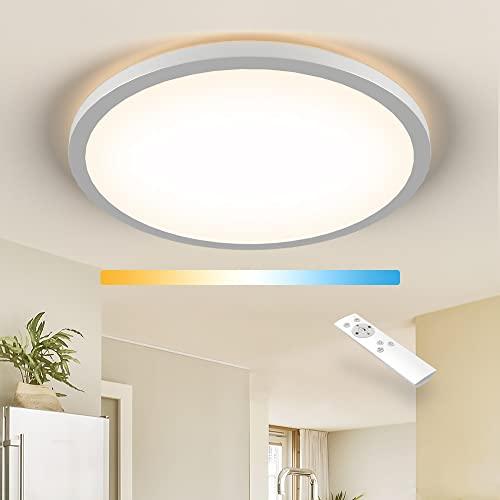 Deckenlampe LED Dimmbar, CCT 2700K-6500K Deckenleuchte Wohnzimmer von Tageslicht über Naturweiß bis Warmweiß,18W Deckenbeleuchtung mit Fernbedienung für Schlafzimmer Kinderzimmer Küche Badezimmer Flur