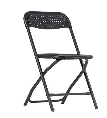 ZOWN Pack 4 sillas Plegables Big Alex, Polipropileno, Negro, L50.9 x W50.3 x H80.6 cm