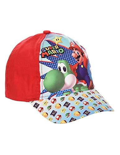 Gorra para bebé y niño, diseño de Mario y Yoshi, color azul y rojo de 9 meses a 3 años rojo 48 cm (9-18 Meses)