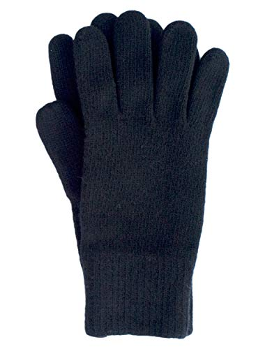 Foster-Natur, Merino Herren Finger Handschuhe, 100% Wolle (9,5, Schwarz)