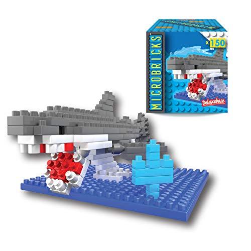 Microbricks - Squalo di Deluxebase. Mini Mattoncini a Incastro Oceano. Puzzle 3D per Bambini semplicissimo da Utilizzare a Tema abitanti dell'Oceano