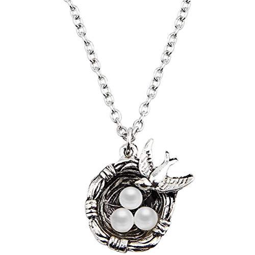 WINOMO Silber kreative Vogelhaus Design Halskette künstliche Perle Anhänger Nest Design Halskette Schmuck Ornamente