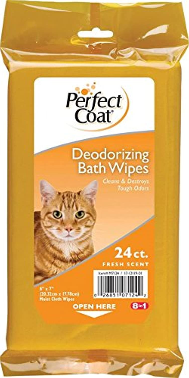 Perfect Coat Deodorizing Bath Wipes for Cats, 24Count