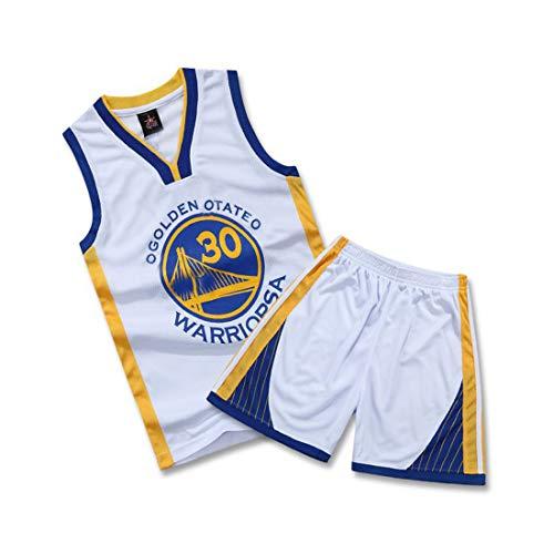 WELETION Kinder Trikot Warriors Curry Nr. 30 Jersey Basketball Shirt Weste Top Shorts für Jungen und Mädchen(Weiß,L)