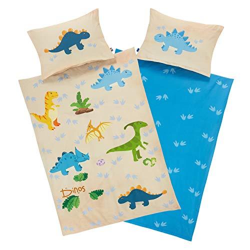 Aminata Kids Bettwäsche Dinosaurier 100-x-135 Junge Kinderbettwäsche mit Dino-Motiv 100% Baumwolle mit YKK Reißverschluss, Wende Kinder-Bettwäsche-Set Dinos bunt, blau, beige T-Rex Jurassic