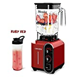 CRANDDI Blender, Professional High-Speed Countertop Blender with 3 Pre-Programmed Settings, 1800W Base, 52oz BPA-free Tritan Jar for Family/ Commercial Size Ice Crush, Shakes and Smoothies, Built-in Pulse & 10-Speeds Control with Timer, K98B-R