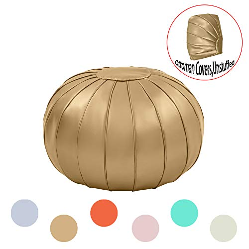 Comfortland Faux Leather Ottoman Poufs, Folding Unstuffed Pouf Covers, 25 Inches Round Foot Rest, Small Foot Stools Seat, Bean Bag Chair, Storage Solution for Living Room, Bedroom, Kids Room