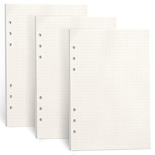 FYY 3 paquetes de papel A5 con puntos, papel de recambio A5, 135 hojas (270 páginas) para cuaderno de 6 anillas, recambio para Filofax A5, notas, diario, bocetos, bocetos, bocetos, pintura, (puntos)