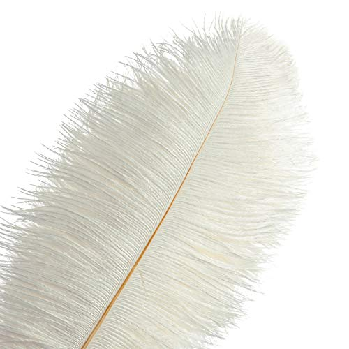 Piokio 20 pcs Natural White Ostrich Feathers Plumes 10-12 inch(25-30 cm) in Bulk for Wedding Party Centerpieces Halloween Christmas Home Decorations