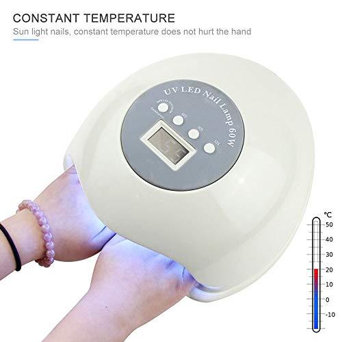 60W Lámpara LED profesional rápida para clavos UV uñas gel Sensor automático inteligente actualizado con 4 configuraciones temporizador Secador lámpara curado esmalte uñas para todas uñas gel,White