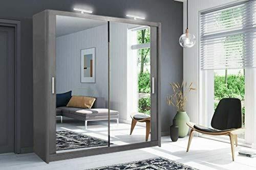 Moderno armadio per camera da letto a 2 e 3 specchi completi Milano 6 misure e 4 colori (100 cm/120 cm/150 cm/180 cm/203 cm/250 cm) (bianco/nero/grigio/rovere) (grigio, 203 cm)