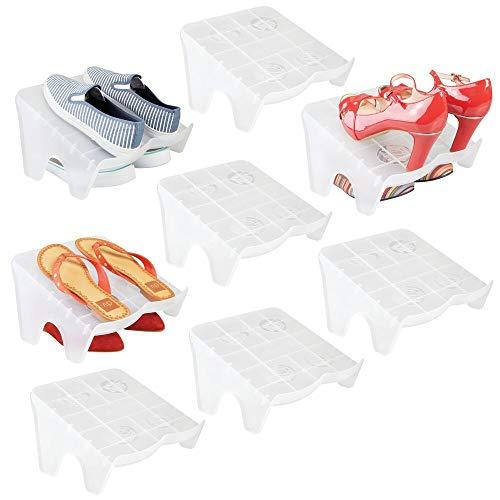 mDesign Juego de 8 organizadores de zapatos – Guarda zapatos apilables para calzado deportivo, tacones o bailarinas – Zapatero abierto antideslizante – Cajas para guardar zapatos – transparente