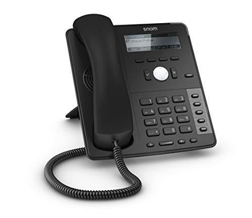 Snom D712 Téléphone IP, téléphone de bureau SIP (B / W affichage à quatre lignes avec rétro-éclairage, 5 touches de fonction programmables avec LED), noir, 00004353