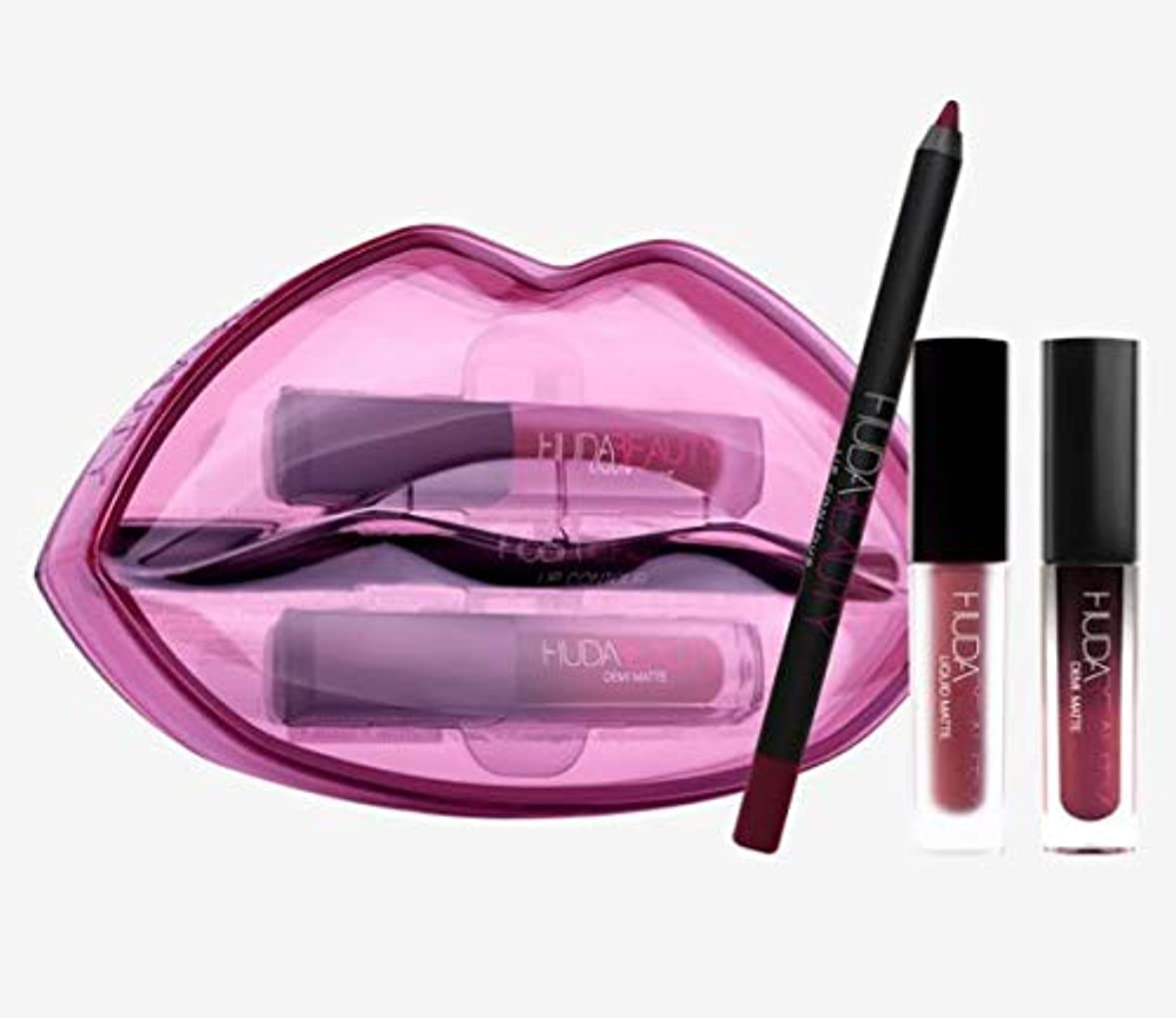 ティッシュ牽引士気Hudabeauty Matte & Cream Lip Set Bawse & Famous リップセット マットリップ