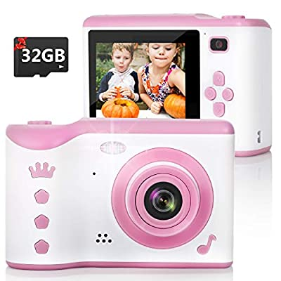 Kids Camera, 8.0MP Digital Dual Camera Rechargeable Shockproof Camcorder Camera With 2.8 Inch Touch Screen,32GB SD Card Included, Ideal Toy for 3-12 Years Old Girls Boys Party Outdoor(Pink)