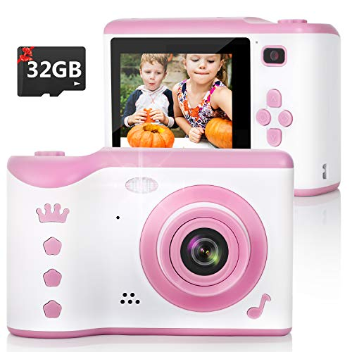 Kids Camera, 8.0MP Digital Dual Camera Rechargeable Shockproof Camcorder Camera With 2.8 Inch Touch Screen,32GB SD Card Included, Ideal Gift for 3-12 Years Old Girls Boys Party Outdoor(Pink)