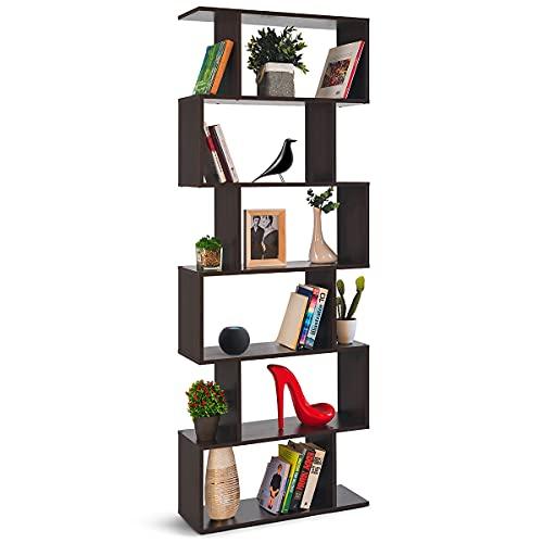 COMIFORT Libreria a Muro - Libreria Stile Nordico, Moderna e Minimalista, con 7 Mensole di Gran Capienza, Robusta e Resistente, di Colore Wengé