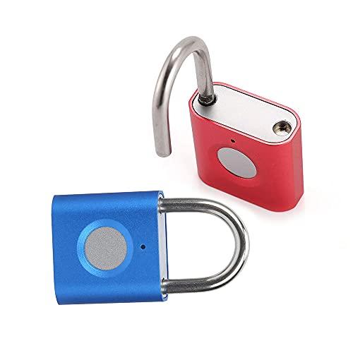 Fingerprint Gym Lock [2-Pack, Blue & Red] eLinkSmart Mini Fingerprint Padlock, Colourful Metal Keyless Thumbprint Lock for Luggage, School Bag, Toolbox, Gym Locker