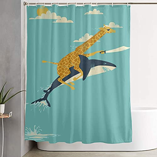 """Giraffe Riding a Shark Shower Curtain with Hooks, Odorless with Rust - Resistant Grommets Holes, for Bathroom Decor 59"""" W x 70.87"""" H Giraffe Riding a Shark"""