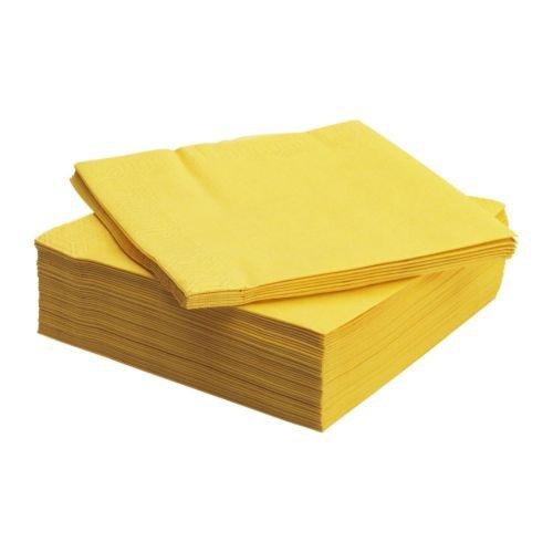 ikea papieren servetten fantastisk, 40x 40cm, 50stuks, geel, geel, 40x40 cm