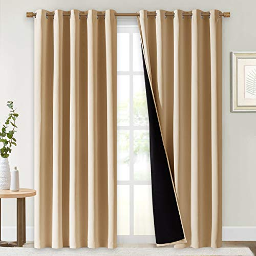 NICETOWN Thermal Insulated 100% Blackout Curtains, Noise Reducing Performance Drapes with Black Lining, Full Light Blocking Panels for Patio (Biscotti Beige, 1 Pair, 70 inches x 95 inches)