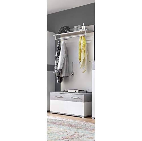 Lomadox Flurmöbel-Set in weiß - Beton-Optik - inkl. Garderobenpaneel und Sitzbank mit Polster