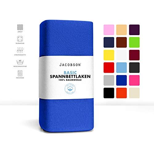 Jacobson Jersey Spannbettlaken Spannbetttuch Baumwolle Bettlaken (90x200-100x200 cm, Royal Blau)