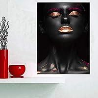アフリカの女性インドブラックゴールド油絵キャンバスポスタープリント壁アート写真装飾リビングルーム
