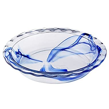 Pyrex Watercolor Collection Blue Lagoon 9.5  Pie Plate