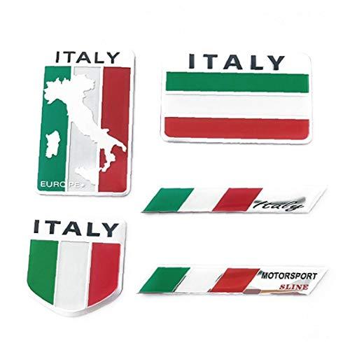 shentaotao Italien-flaggen-Aufkleber Aluminium-Legierung Auto-Aufkleber Italien-Emblem-Abzeichen Kreative Car Styling-Aufkleber Für Motorrad Fahrzeug 5 Pc
