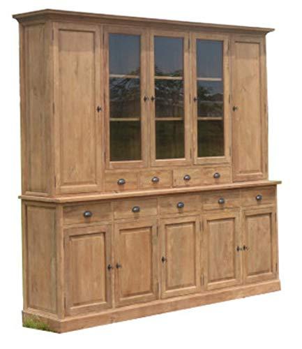 Armario para vitrina de madera de teca reciclada, cepillado