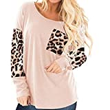 Dosoop Women Fall Leopard Print Tops Long Sleeve T Shirt Cute Sweatshirts Blouse Casual Loose Crew Neck Tunics with Pocket