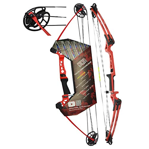 """Southwest Archery Ninja Kids Youth Compound Bow Kit - Fully Adjustable 20-29"""" Draw 10-20LB Pull - 55% Let Off - Pre-Installed Arrow Rest - Finger Saver String - RH, Red"""