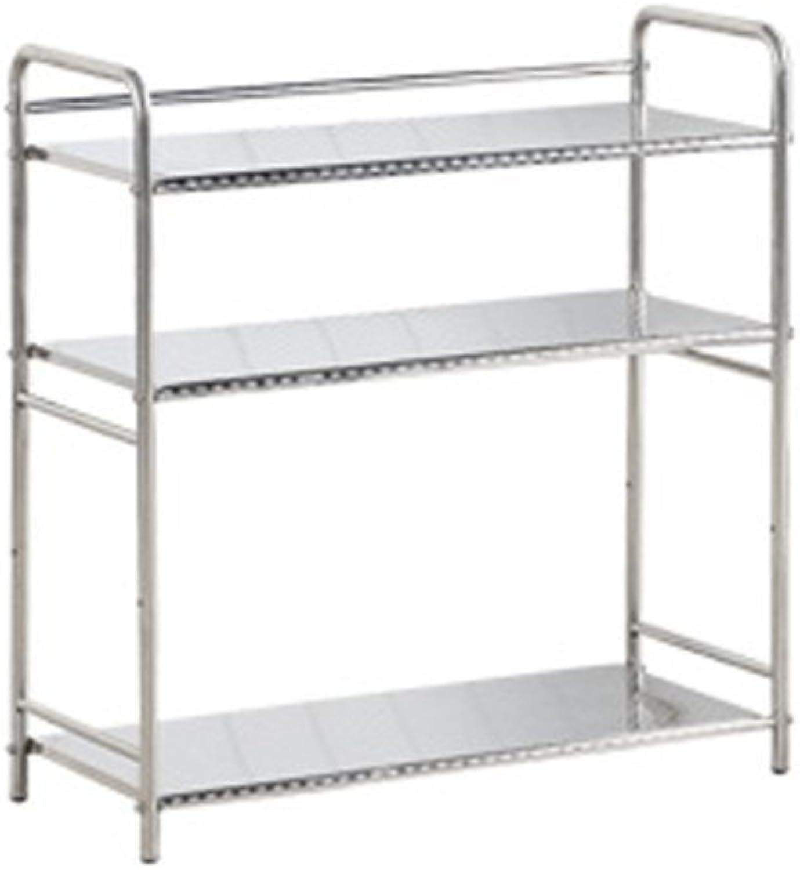 WAN SAN QIAN- Shelf Kitchen Shelf Stainless Steel Shelf Multilayer Multipurpose Floor Taste Seasoning Rack Special Thicker Rack Shelf ( Size   Three layers-673026cm )