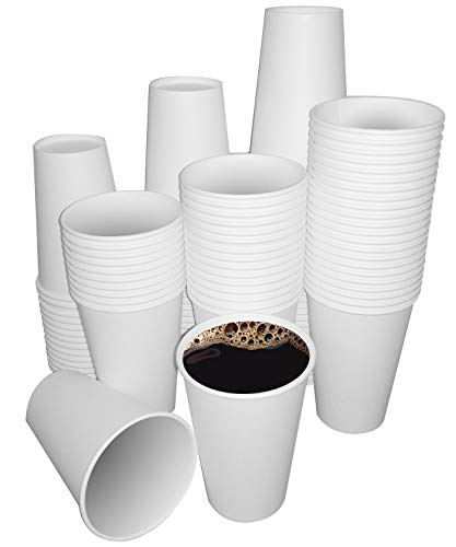 Cuppa Cup Pack 120 Disposable Paper Cups 12oz for Drink Hot Cold Coffee - White