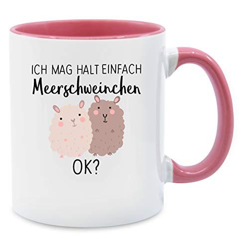 Tasse mit Spruch - Ich mag halt einfach Meerschweinchen OK? - Unisize - Rosa - tassen mit gesicht - Q9061 - Kaffee-Tasse inkl. Geschenk-Verpackung