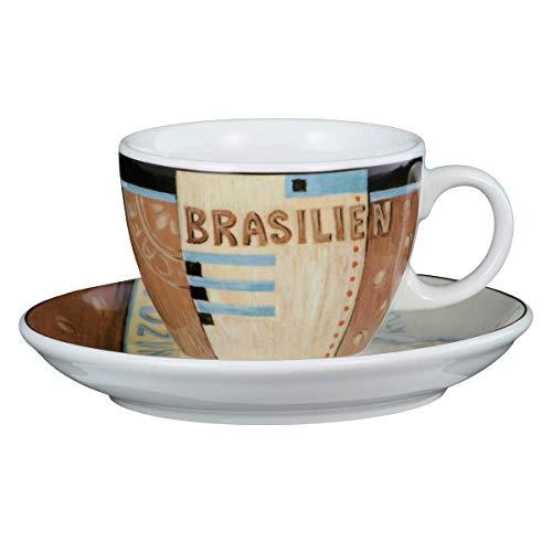 Seltmann Weiden 001.000170 VIP. Brasilien Cappuccinotasse 0,22 L mit Untertasse, Braun/Beige/Blau/Schwarz