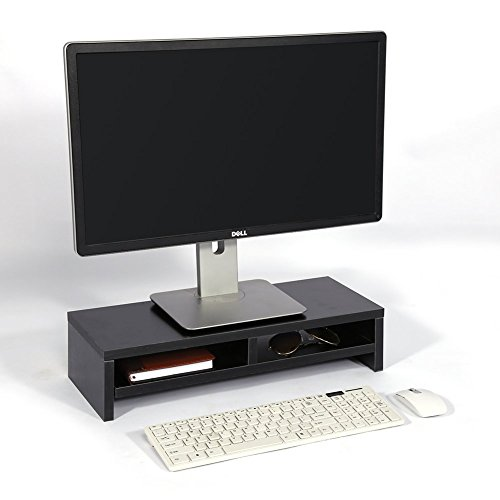Support de Moniteur avec Rangement, 2 Etages Support de Moniteur TV Ordinateur Portable PC Ecran d'ordinateur Riser Etagère de Bureau pour Bureau et Maison , Noir 50 x 20,1 x 11,7 cm (L x P x H)