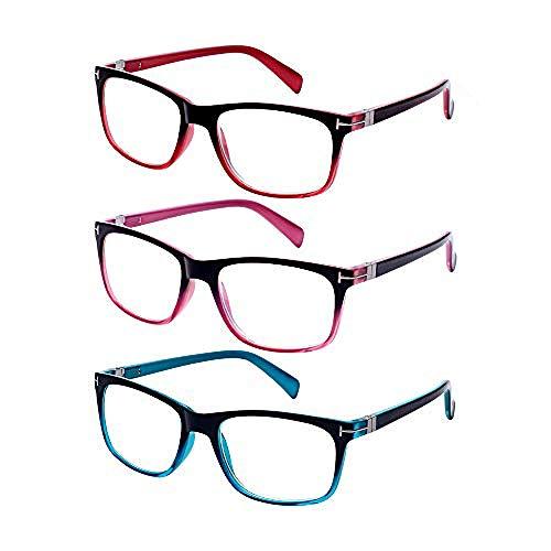 EFE Gafas de Lectura 2 Unidades Gafas Lectores Unisex Gafas para Leer Ligeras Comodas Vista de Cerca Azul Hombre y Mujer +2.5 Paquete de 3