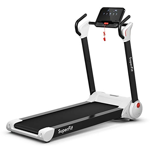 GYMAX Folding Treadmill, 2.25HP Electric Motorized Running Walking Machine with LED Touch...