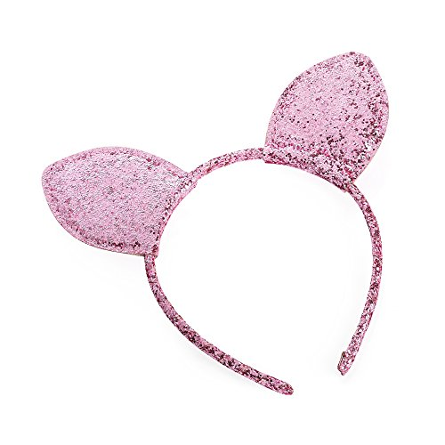 Oreilles de chat recouvertes de paillettes roses Alice Hair Band Bandeau Déguisement Halloween