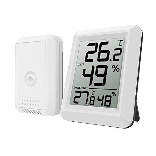 ORIA Thermometer Hygrometer, Innen Außen Thermometer Digital Temperatur und Luftfeuchtigkeit Monitor, Thermo Hygrometer mit Außensensor, Großem LCD Display, ℃/℉ Schalter, Ideal für Büro,etc - Weiß