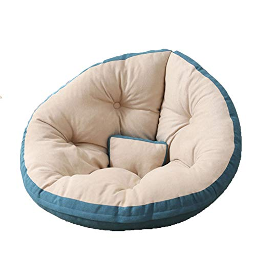 Wsaman Sofá portátil y acolchado suave y plegable, para tumbona perezosa, silla de almacenamiento, silla de juegos con transformable extraíble para leer, juegos, ver televisión, azul, M