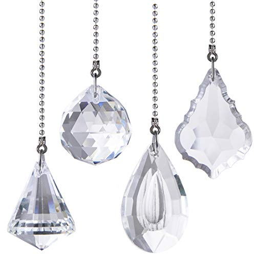 4Pcs Crystal Prisms Charm Pendant Ceiling Fan Pull Chain Extender with Ball Chain Connector