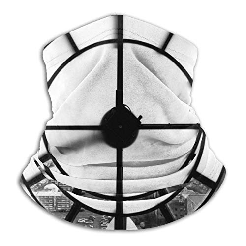 Autisum Hombres Mujeres Pasamontañas,Diademas para Exteriores,Multiusos De Bandana,Pasamontañas,Calentador De Cuello De Invierno,Reloj Fondo Blanco Y Negro
