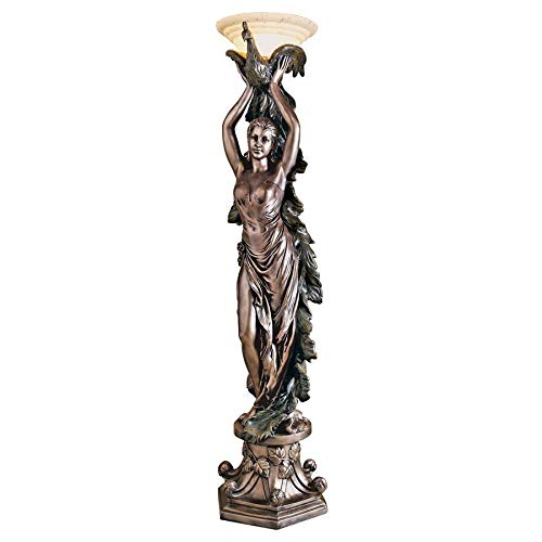 Design Toscano The Peacock Goddess Sculptural Floor Torchière Lamp, 74 Inch, Polyresin, Bronze Verdigris Finish