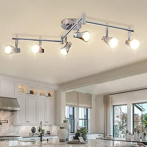 DLLT Modern LED Track Lighting Kit-6 Lights Adjustable Decorative Track Light Fixture, 6 Way Flush...